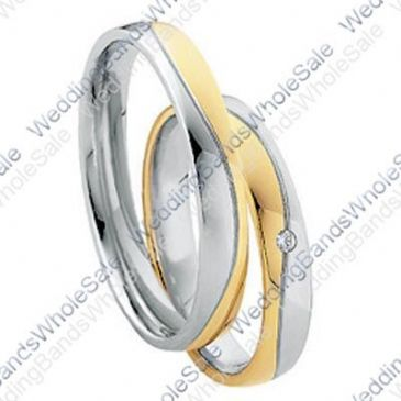 950 Platinum and 18k Yellow 4mm 0.03ct His & Hers Wedding Rings Set 256