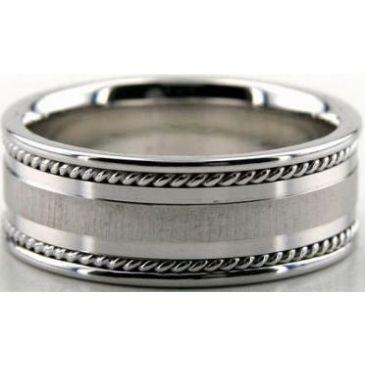 18k White Gold 8mm Handmade Wedding Band Braid Design 031