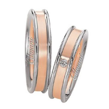 18k Two-Tone Rose & White Gold 5mm His & Hers 0.02ctw Diamond Wedding Band Set 260