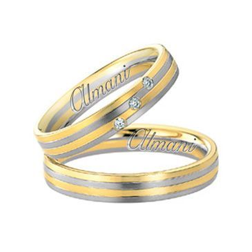 18k Two-Tone Yellow & White Gold 5mm His & Hers 0.06ctw Diamond Wedding Band Set 261