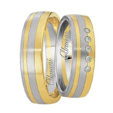 14k Two-Tone Yellow & White Gold 6mm His & Hers 0.05ctw Diamond Wedding Band Set 262
