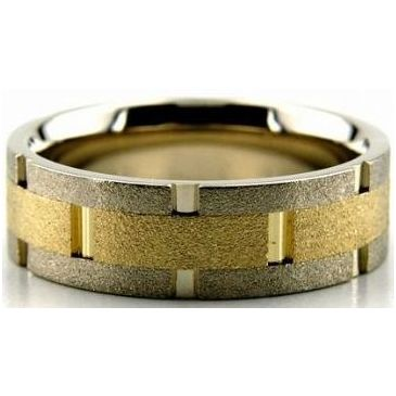 18k Gold Two Tone 8mm Handmade Wedding Band Link Design 014