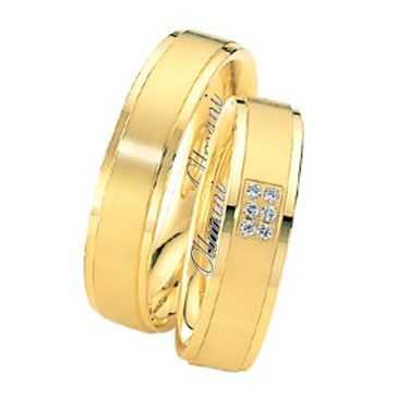 18k Yellow Gold 6mm His & Hers 0.06ctw Diamond Wedding Band Set 264