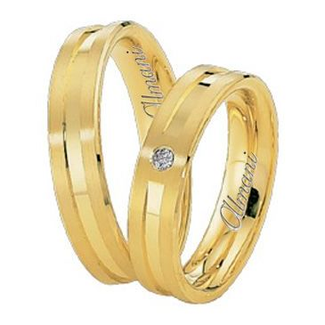 18k Yellow Gold 5mm His & Hers 0.02ctw Diamond Wedding Band Set 265