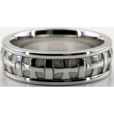18k White Gold 6.5mm Handmade Wedding Band Cross Design 037
