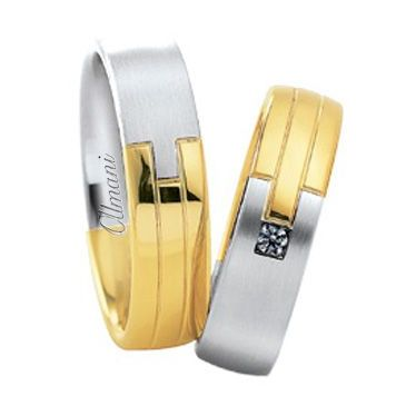 18k Two-Tone Yellow & White Gold Jigsaw 6mm His & Hers 0.03ctw Diamond Wedding Band Set 267