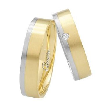 18k Two-Tone Yellow & White Gold 6mm His & Hers 0.02ctw Diamond Wedding Band Set 268