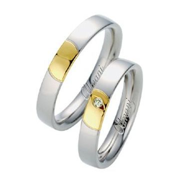 18k Two-Tone Yellow & White Gold 4mm 0.02ct His & Hers Wedding Rings Set 269