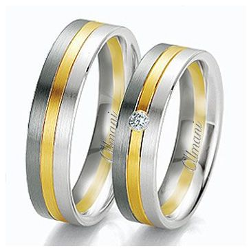 18k Two-Tone Yellow & White Gold 6mm His & Hers 0.02ctw Diamond Wedding Band Set 270