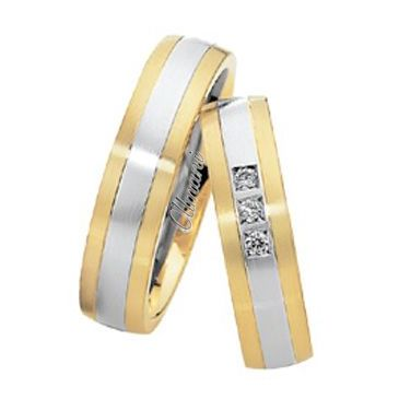18k Two-Tone Yellow & White Gold 6mm His & Hers 0.06ctw Diamond Wedding Band Set 271