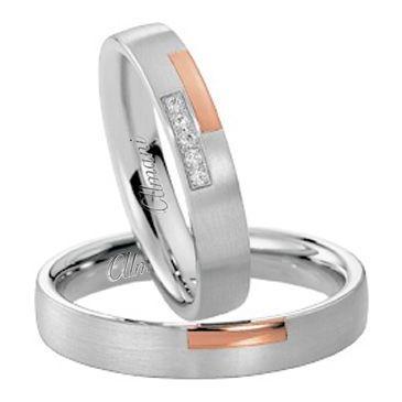 18k Rose & White Gold His & Hers Two Tone 0.05ctw Diamond Wedding Band Set 272
