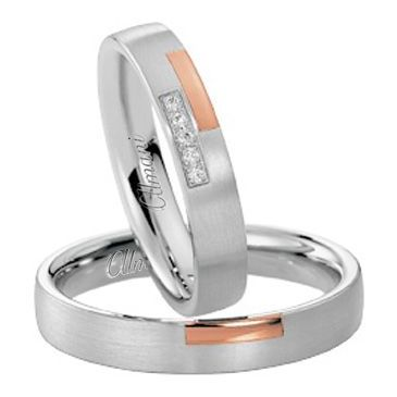 950 Platinum and 18k Rose Gold His & Hers Two Tone 0.05ctw Diamond Wedding Band Set 272