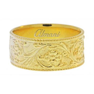 14k Yellow Gold 10mm Antique Wedding Band Comfort Fit AWB101514KY
