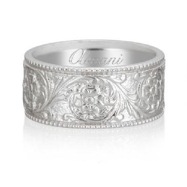 950 Platinum 8mm Antique Wedding Band Comfort Fit AWB1002PLT
