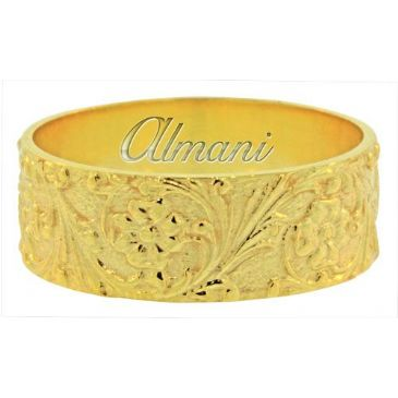 18K Yellow Gold 8mm Antique Wedding Band Comfort Fit AWB100418KY