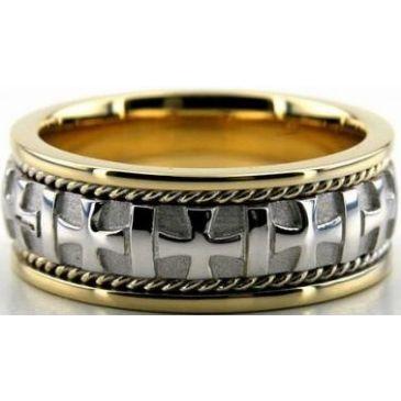 18k Gold Two Tone 8mm Handmade Wedding Band Cross Design 036