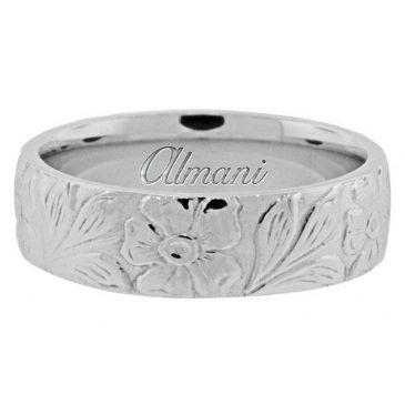 950 Platinum 6mm Antique Wedding Band Comfort Fit AWB1005PLT