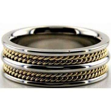 18k Gold Two Tone 8mm Handmade Wedding Band Rope Design 021