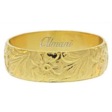 14K Yellow Gold 6mm Antique Wedding Band Comfort Fit AWB100514KY