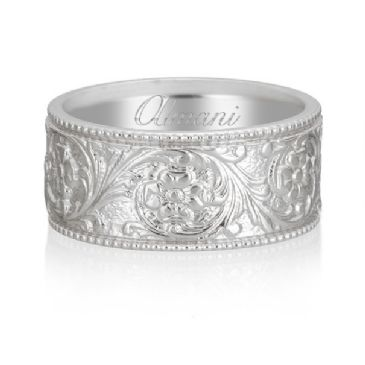 18K White Gold 8mm Antique Wedding Band Comfort Fit AWB100218KW