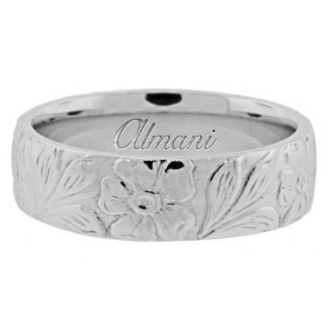 18K White Gold 6mm Antique Wedding Band Comfort Fit AWB100518KW