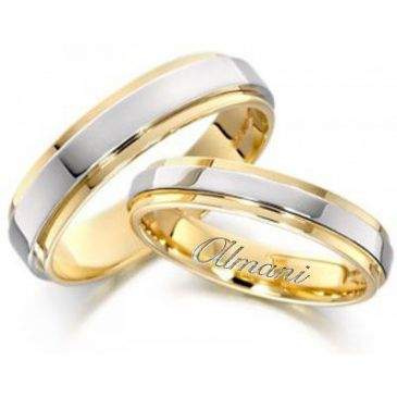 18k Yellow & White Gold His & Hers Two Tone Wedding Band Set 273