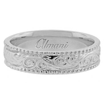950 Platinum 5.5mm Antique Wedding Band Comfort Fit AWB1003PLT