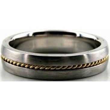 950 Platinum & 18K Gold 5mm Handmade Wedding Band Rope Design 022