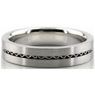 Platinum 5mm Handmade Wedding Band Wave Design 027