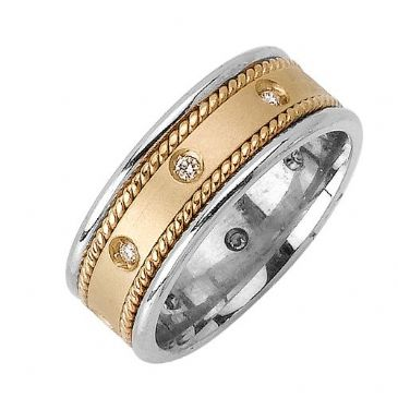 14k Gold Round Brilliant Bezel Set 7mm Comfort Fit Two Tone Diamond Band 1238 (0.20ctw.)