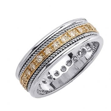 14k Gold Round Brilliant Pave Set 7mm Comfort Fit Two Tone Diamond Band 1240 (0.45ctw.)