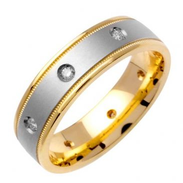 14k Gold Round Brilliant Bezel Set 6mm Comfort Fit Two Tone Diamond Band 0.16ctw 1242