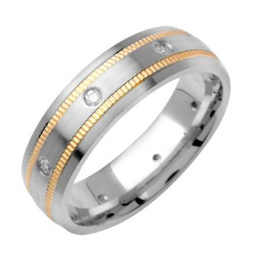 14k Gold Round Brilliant Bezel Set 6mm Comfort Fit Two Tone Diamond Band 0.16ctw 1243