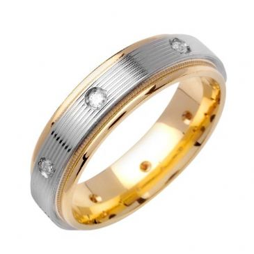 14k Gold Round Brilliant Bezel Set 6mm Comfort Fit Two Tone Diamond Band 0.16ctw 1244