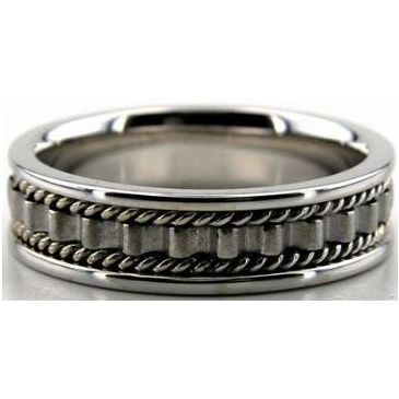 950 Platinum 6mm Handmade Wedding Band Ridge Design 031