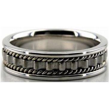 950 Platinum 6mm Handmade Wedding Band Ridge Design 031