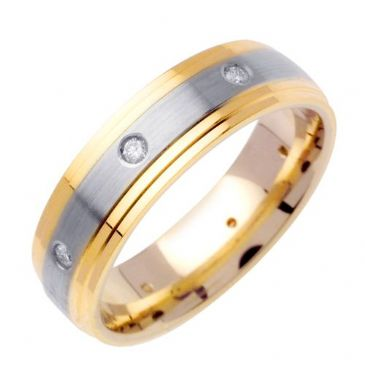 14k Gold Round Brilliant Bezel Set 6.5mm Comfort Fit Two Tone Diamond Band 0.16ctw 1241