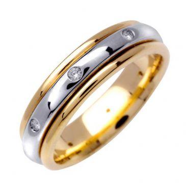 14k Gold Round Brilliant Bezel Set 6mm Comfort Fit Two Tone Diamond Band 0.16ctw 1249