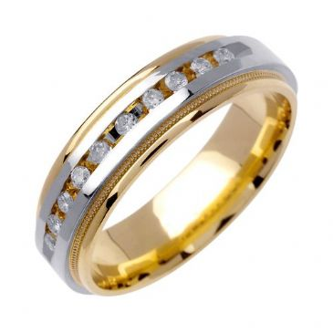 18k Gold Round Brilliant Channel Set 6mm Comfort Fit Two Tone Diamond Band 0.20ctw 1250