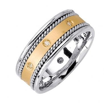 14k Gold Round Brilliant Bezel Set 7mm Comfort Fit Two Tone Diamond Band 1237 (0.16ctw.)