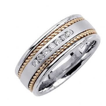 950 Platinum Round Brilliant Channel Set 7mm Comfort Fit Two Tone Diamond Band 1239 (0.14ctw.)