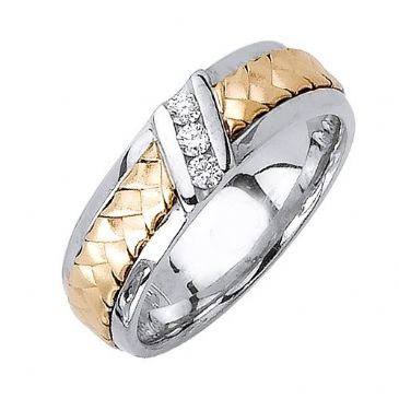 950 Platinum & 18k Gold Round Brilliant Channel Set 6.5mm Comfort Fit Two Tone Diamond Band 0.15ctw 1246