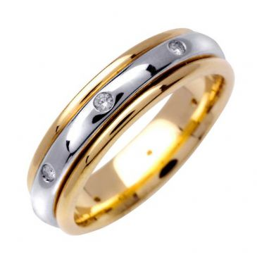 950 Platinum & 18k Gold Round Brilliant Bezel Set 6mm Comfort Fit Two Tone Diamond Band 0.16ctw 1249