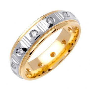 950 Platinum & 18k Gold Round Brilliant Bezel Set 6mm Comfort Fit Two Tone Diamond Band 0.36ctw 1252