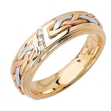 18k Gold Round Brilliant Channel Set 6mm Tri Color Wedding Band 0.06ctw 1253