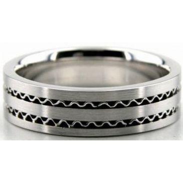 950 Platinum 6mm Handmade Wedding Band Wave Design 030