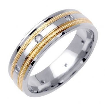 18k Gold Round Brilliant Bezel Set 7.5mm Comfort Fit Two Tone Diamond Band 0.16ctw 1251