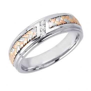 18k Gold Round Brilliant Channel Set 6mm Tri Color Wedding Band 0.06ctw 1254