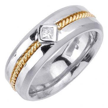 14k Gold Princess Cut Bezel Set 7.5mm Shiny Two Tone Diamond Band 0.10ctw 1255