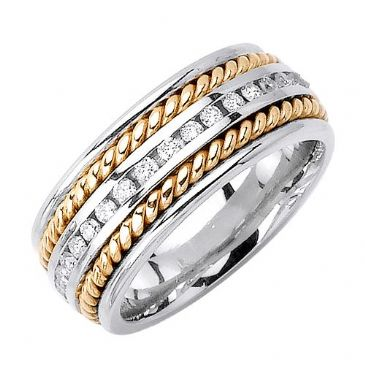 14k Gold Round Brilliant Channel Set 8mm Two Tone Wedding Diamond Band 1257 (0.70ctw.)